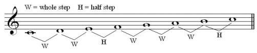 C scale whole-half steps